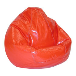 Elite Products - Wetlook Vinyl Bean Bag - This large kid's wetlook lipstick color bean bag is easily refilled by an adult.  With double stitching and double overlap folded seams, this bean bag holds pvc vinyl polystyrene beads safely inside. Long lasting and durable. Double stitched with double overlap folded seam. Double zippered bottom for added security. Childproof safety lock zippers (pulls have been removed). Light, convenient to move and store. Easy to clean. Recommended seating age: 4 to 10 years. Warranty: One year limited. Made from PVC vinyl and polystyrene bead. Made in USA. No assembly required. 32 in. L x 30 in. W x 25 in. H (6 lbs.)