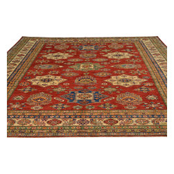 Red Super Kazak Oriental Rug 8'x10' 100% Wool Tribal Design Hand Knotted Sh18056 - Our Tribal & Geometric hand knotted rug collection, consists of classic rugs woven with geometric patterns based on traditional tribal motifs. You will find Kazak rugs and flat-woven Kilims with centuries-old classic Turkish, Persian, Caucasian and Armenian patterns. The collection also includes the antique, finely-woven Serapi Heriz, the Mamluk Afghan, and the traditional village Persian rug.