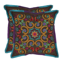 Safavieh Finn 18 in. Decorative Pillows - Set of 2 - The Safavieh Finn 18 in. Decorative Pillows - Set of 2 will remind you of a Mayan fiesta. Lively, vibrant embroidery and soft textures adorn this set. Covers are easy to remove.About SafaviehConsidered the authority on fine quality, craftsmanship, and style since their inception in 1914, Safavieh is most successful in the home furnishings industry thanks to their talent for combining high tech with high touch. For four generations, the family behind the Safavieh brand has dedicated its talents and resources to providing uncompromising quality. They hold the durability, beauty, and artistry of their handmade rugs, well-crafted furniture, and decorative accents in the highest regard. That's why they focus their efforts on developing the highest quality products to suit the broadest range of budgets. Their mission is perpetuate the interior furnishings craft and lead with innovation while preserving centuries-old traditions in categories from antique reproductions to fashion-forward contemporary trends.