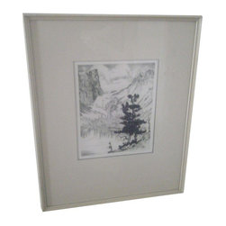 """Used 1949 Dry Point Etching by Lyman Byxbe - """"Dream Lake"""" is a 1949 pencil signed etching of a beautiful spot in Estes Park, Colorado.     It measures approx.. 7""""x8.75"""" and is matted and framed to 15.5""""x19"""". The white frame has some wear.     Lyman Byxbe is one of many great artists who have turned to the majestic Rocky Mountains for inspiration and the subject matter of their compositions. He became a successful commercial artist in Omaha, Nebraska, where he studied the art of etching under Mark Levings, an architect. In 1938 Mr. Byxbe moved to Estes Park, Colorado, where he has had a summer studio for many years. Most of the artist's time and talent was devoted to copper plate etching in his mountain studio. Here is a beautiful example of Byxbe's work in a generous 5 1/2"""" by 7"""" sight and 8"""" by 15"""" overall size with frame. Lyman Byxbe has been honored by membership in the Chicago Society of Etchers, Miniature Print Society of Kansas City, Missouri, and Northwest Printmakers of Seattle, Washington. He is represented in the permanent collections in Washington D.C. of the National Gallery of Arts, at the Smithsonian Institute and the Library of Congress."""