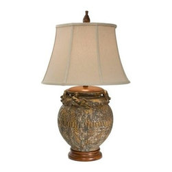 "The Natural Light - Country - Cottage Natural Light Galicia Ceramic and Wood Table Lamp - The ceramic base of this table lamp features eye-catching texturing. The Hopsack beige bell shade tops the design. Transform a table with this stylish table lamp by Natural Light. Ashes of Vesuvius finish. Hopsack beige bell shade. Wood stand. Takes one 150 watt 3-watt bulb (not included). 30 1/2"" high. Shade is 12"" at the top 18"" at the bottom and 12"" on the slant.  Ashes of Vesuvius finish.   Hopsack beige bell shade.   Wood stand.   Takes one 150 watt 3-watt bulb (not included).   30 1/2"" high.   Shade is 12"" at the top 18"" at the bottom and 12"" on the slant."