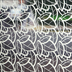 Little Leaves Sheer Window Film - 4 ft. x 7 ft. - Sheer decorative adhesive window film is a perfect solution to provide limited privacy while adding dimension to your space.  The sheer film is ideal for letting maximum light and color penetration while still lightly obscuring the view through a window.  Sheer film will not alter natural light colors.  Film is easily applied and removable without leaving residue in most circumstances.  Ideal for shower doors, windows, and any location where visibility needs to be obscured. Easily trimmed to fit most windows. Not for use on automotive windows.  Printed with eco friendly inks and designed to last years without replacement. Full privacy / frosted films also available. 48W x 84H Made In The USA Oversized For Large Windows & Patio Doors
