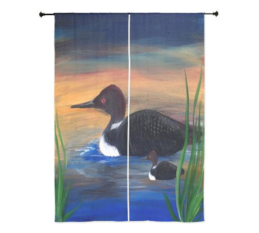 xmarc - Tropical Birds Sheer Curtains, Loon Lake - The windows have it with these sheer, decorative curtains. Romantic and flowing, these elegant chiffon window treatments finish a room with the perfect statement