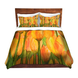 DiaNoche Designs - Duvet Cover Twill - Tulips - Lightweight and super soft brushed twill Duvet Cover sizes Twin, Queen, King.  This duvet is designed to wash upon arrival for maximum softness.   Each duvet starts by looming the fabric and cutting to the size ordered.  The Image is printed and your Duvet Cover is meticulously sewn together with ties in each corner and a concealed zip closure.  All in the USA!!  Poly top with a Cotton Poly underside.  Dye Sublimation printing permanently adheres the ink to the material for long life and durability. Printed top, cream colored bottom, Machine Washable, Product may vary slightly from image.