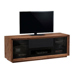 "Furnitech - 70"" Contemporary TV Stand - 70"" Contemporary TV Stand, Media Console for Flat Screen and Audio Video Installations Featuring Contoured Edge Detail with Natural Walnut Veneers"