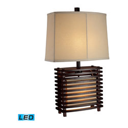 Dimond Lighting - Dimond Lighting D1419-LED Burns Valley 2 Light Table Lamps in Espresso Wood - Burns Valley Table Lamp In Espresso Wood With Cream Linen Shade And Off-White Fabric Liner- LED Offering Up To 800 Lumens (60 Watt Equivalent) . Includes An Easily Replaceable LED Bulb (120V)