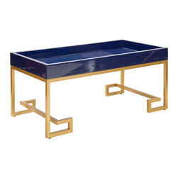 Conrad Navy Lacquer Table - It is easy to fall head over heels for this coffee table: Its bold gold legs and lacquered top are seriously swoon worthy. The price tag isn't for the faint of heart, but this is a definite statement piece.