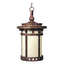 Maxim Lighting - Maxim Lighting Santa Barbara ES Energy Efficient Outdoor Hanging Light - Make a statement with this bold Maxim Lighting Santa Barbara ES energy efficient traditional outdoor hanging light. It's a casual and rustic piece, with its impeccably designed, die cast aluminum frame in a warm, sienna finish and mocha glass shade. This energy-saving lantern in a craftsman/mission style is sure to enhance any outdoor space.