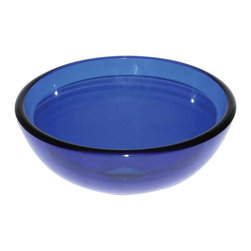 Renovators Supply - Vessel Sinks Blue Glass Piccolo Round Mini Vessel Sink | 13769 - Mini Glass Vessel Sinks: Single Layer Tempered glass sinks are five times stronger than glass, 1/2 inch thick, withstand up to 350 F degrees, can resist moderate to high degrees of impact and are stain-proof. Ready to install this package includes FREE 100% solid brass chrome-plated pop-up drain, FREE machined 100% solid brass chrome-plated mounting ring and silicone gasket. Measures 11 3/4 inch diameter x 4 3/8 inch deep x 1/2 inch thick