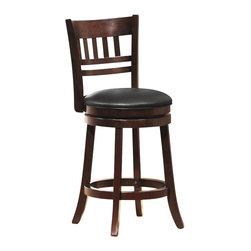Homelegance - Homelegance Edmond Swivel Counter Height Chair in Cherry (Set of 2) - Homelegance - Bar Stools - 1140E24S -Expanding the seating availability in your entertainment or dining space has become much less complicated with the Edmond Collection. Offered in a dark cherry finish with black bi-cast seats, the varied designs of the chair backs allow for placement in a multitude of design settings. From casual to formal, the 24 and 29 barstools offer the best selection out there.