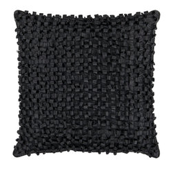 "Surya - Looped Design Square Pillow BB-037, 18"" X 18"" - This pillow brings texture to any space. With a looped design, this decorative pillow adds a bit of fun to your room. The color black accents this pillow. This pillow contains a poly fill and a zipper closure. Add this pillow to your collection today."
