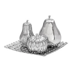 Casa Cortes - Casa Cortes Ceramic Plate With Decorative Fruit Center Piece And Table Decor - Add a bit of visual interest to your table with this decorative ceramic plate and fruit centerpiece. The plate and fruit are a bright silver color that's sure to attract the eye and serves as an elegant addition to your kitchen or dining room table.