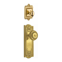 Nostalgic Warehouse - Nostalgic Meadows Plate with Meadows Knob in Polished Brass (726541) - The polished brass Meadows Plate and Deadbolt, with their intricate beaded detailing and botanical flourishes, create an inspired design theme. Add our Meadows Knob, with its captivating design, for a stylish and sleek look. All Nostalgic Warehouse knobs are mounted on a solid (not plated) forged brass base for durability and beauty. Only interior half, Must be paired with Nostalgic Warehouse Exterior Handle set.