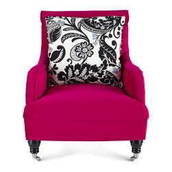 Haute House Fuchsia Sophie Chair - Relax with a good book in this vibrant chair. The traditional silhouette and caster-style legs make this piece a bold yet elegant staple for the home.