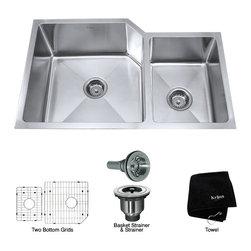 Kraus - Kraus 32 inch Undermount 60/40 Double Bowl 16 gauge Stainless Steel Kitchen Sink - *Add an elegant touch to your kitchen with a unique and versatile undermount sink from Kraus