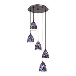 Design Classics Lighting - Modern Bronze Multi-Light Pendant Light with Blue Art Glass - 580-220 GL1009MB - Contemporary multi-light mini-pendant light in Neuvelle bronze finish with blue art glass modern bell shades and five lights. Includes one bronze five-port ceiling canopy. Each mini-pendant comes with 7-feet of black cuttable cord that allows for custom height adjustability for each pendant. Takes (5) 100-watt incandescent A19 bulb(s). Bulb(s) sold separately. UL listed. Dry location rated.