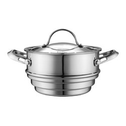 Cooks Standard - Cooks Standard Multi-Ply Clad Stainless-Steel Universal Steamer Insert with Lid - Cooks standard mulitclad stainless cookware features air-flow technology makes handle stay cooler than normal handle type. Constructed of clad metal of 3 layer: Interior lining is premium grade 18-10 stainless steel, core made of multi-element alloy aluminum for superior heat distribution, the core of aluminum goes from bottom all the way to side wall, stainless steel does not transmit heat quickly but aluminum does. Aluminum is soft and dents easily, stainless steel is hard and strong. This means you get the toughness of stainless steel with the even heat distribution of aluminum. Exterior is scratch resistant brushed treatment, bottom is also compatible to conduction stovetop, this cookware is dishwasher safe.