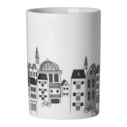 Danica Studio - Panorama Tumbler - Whimsy meets function in this printed porcelain tumbler. With such quaint images of cityscapes and bicycles, the romance of the big city can be just what you needed for your bathroom, kitchen or office.