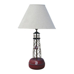 Bell Buoy Red Lamp - Bell Buoy Red lamp, hand painted and lightly distressed for a beach cottage look. Includes linen shade. Holds one 60W light bulb (not included).