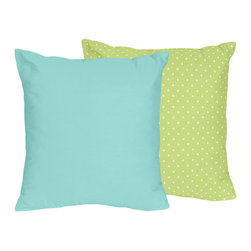Sweet Jojo Designs - Sweet Jojo Designs Hooty Owl Throw Pillow - Add a pop of color to your bedroom or sofa decor with this charming Sweet Jojo designs throw pillow. Made of cotton,this reversible pillow features a turquoise side as well as a lime green and white polka-dot side for versatility.