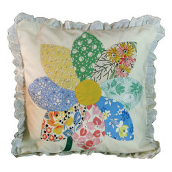 "Interior Nature - Nursery Decor Floral Throw Pillow - Hand Stitched Flower Series, 1930s Fabric, Flower 1. They are blossoming! All original flowers hand sewn on natural cotton muslin in the 1930s. Antique but perfectly preserved! Hidden away never seeing the light of day - until now. Light up your home. Makes a great children's room pillow or accent pillow on a couch. Pillows are backed with brand new 100% pure Irish linen. Cuddle Down-Alternative (micro-fiber poly) insert. 12"" x 12""."