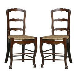 EuroLux Home - Pair New Solid Mahogany French Ladderback - Product Details