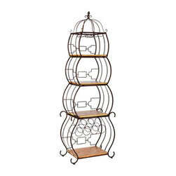 Pagoda Wine Storage Etagere - With its chic pagoda styling, this metal etagere has room for wine bottles, wines glasses, and lots more. This would work in a living room, dining room or kitchen.