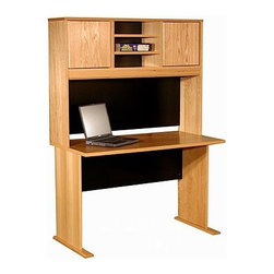 """Rush Furniture - Modular Real Oak Wood Veneer 48"""" W Panel Office Computer Desk Suite - Features: -Panel office desk suite. -Modular Real Oak Wood Veneer collection. -Real wood veneers. -Hutch design incorporates modesty panel and enables space maximization. -Commercial quality manufacture. -Finished on all sides. -Great addition to a home office or large corporate site. -Comes ready to assemble. -Comes with 5-year warranty against manufacturer defects. -Desk dimensions: 29.5"""" H x 48"""" W x 24"""" D. -Hutch dimensions: 36"""" H x 48"""" W x 12"""" D. Purchased on its own or in multiples, this comprehensive desk setup offers excellent versatility and space-efficiency. In this pairing we have matched a broad 48"""" hutch featuring 2 doors and 2 adjustable shelves with the Veneer Office 48"""" desk model. Each of the Veneer Office pieces is furnished consistently in beautiful American oak veneer and designed with a """"modular"""" arrangement in mind for convenient mixing and matching. What this means for our customers is a stylish selection of furnishing elements that will enable your home office or corporate site to achieve its functional best. Each piece is furnished with thick plain-sliced panels that are UV-cured and multi-coat finished, both front and back, to create a balanced and chip resistant board that is more stable and won't bow in extreme temperatures or moist environments."""