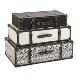 iMax - Aberdeen Storage Trunks, Set Of 3 - Help solve the number-one decorating conundrum facing consumers, lack of adequate storage, with a trio of storage trucks with leather and iron accents and plenty of vintage appeal.