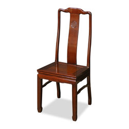 China Furniture and Arts - Rosewood Longevity Design Chair - Made of solid rosewood, this chair is exquisitely hand-carved with the symbol of Longevity sign in the center. Constructed with traditional joinery technique by artisans in China. To use as a dinning chair or place a pair in a special spot in your living room. Hand applied rich mahogany finish.