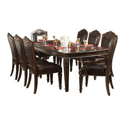 Homelegance - Homelegance Palace 9-Piece Dining Room Set in Brown Cherry - The Palace collection exemplifies the best of Old World Europe. Egg and dart moldings, rope twists, acanthus and tobacco leaf carvings and florets accentuate each piece; the Palace collection has it all.