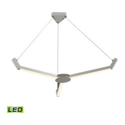"ELK - ELK 50007/3 Chandelier - The Zuno chandelier, finished in Matte White, features three sleek ""blades"" of clean, LED light.  This triangular design, made from aluminum, will add excitement to modern environments while remaining minimalistic in appearance."