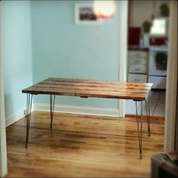 """60"""" Steel Hair Pin Leg, Solid Wood Dining Table - 60"""" long steel hairpin leg dining table with solid wood top in our Early American stain. Customizable by length, width, stain/paint colors, and more. Built by hand in the U.S. from solid wood."""