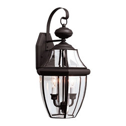 Sea Gull Lighting - Sea Gull Lighting 8039-12 Lancaster Transitional Outdoor Wall Sconce - Light has a way of sparkling against glass to create a warm and inviting welcome and the Lancaster collection is a classic. With beveled glass detailing and finishes that range from classic polished brass and black to more updated looks in antique bronze and antique brushed nickel.