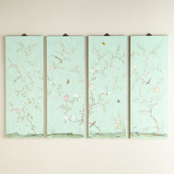 Turquoise Kariya Floral Wall Panels, Set of 4 - Hand-painted chinoiserie wallpaper is the ultimate luxury, but you can get the look with panels that hang as art instead. These are especially perfect if you love the look but are renting.