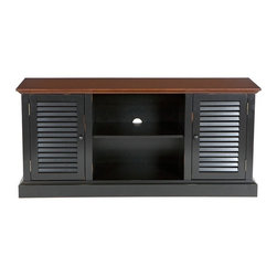 Holly & Martin - Holly & Martin Savannah Media Stand in Black - Three adjustable shelves. Holds up to a 50 in. flat panel TV, media player, receiver and gaming console. Large center storage and concealed side storage areas each are enhanced with an adjustable shelf. Center cord management. Made from rubberwood and MDF with veneer. Black and walnut finish with rub through. Assembly required. Center Storage: 20 in. W x 14 in. D x 19 in. H. Side Cabinets: 13 in. W x 13 in. D x 19 in. H. Overall: 52 in. W x 15.75 in. D x 24 in. H (85 lbs.). Assembly InstructionCharming and quaint, this black louvered media stand is a perfect blend of traditional and contemporary. The charm is further enhanced with slight rub through on the black paint finish to add character. This unit is ideal for all modern amenities.
