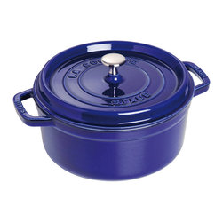 Staub - Staub Round Cocotte, 4 Qt., Dark Blue - Whether you're making a hearty soup or braising a favorite cut of meat, a cast iron pot is a must-have for the modern kitchen. The unique lid features self-basting spikes that continuously redistributes juices throughout your dish. Pick from four sizes and eight sophisticated colors to complement your kitchen decor.
