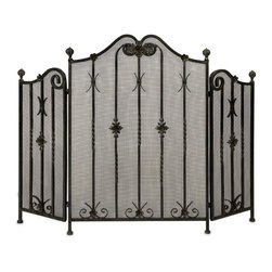 Imax - Traditional Iron Fireplace Screen - *Traditional iron fireplace screen with intricate metalwork detail.