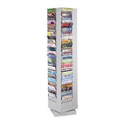 Safco - Steel Rotary Magazine Rack w 92 Pockets in Gray - Extensive display possibilities are yours with this 92-pocket magazine rack. It easily holds brochures, newspapers and much more. The sturdy steel rack has a gray finish and full 360-degree rotation. It's great for conference rooms, reception areas and more. Greenguard certified. Rotates 360 degrees. Ninety two compartments. Powder coat paint. Made from steel. No assembly required. Compartment: 9 in. W x 0.75 in. D x 7.25 in. H. 14 in. W x 14 in. D x 68 in. H (105 lbs.)Display your literature, pamphlets, brochures and magazines so your guests or employees can easily view them. Whether it's for your guests in the reception area, waiting room, conference room, meeting areas, trade show booth, the lobby, foyer or entrance way or for your internal employees at a print station, lounge area, lunch or break room, mail room, supply room, classroom, media center, library or even your office, every piece of literature and magazine will have a perfect place to be displayed.