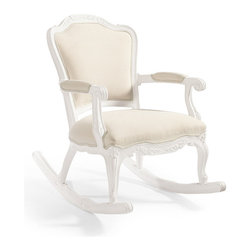 Frontgate - Portofino Rocking Chair with Cushion, Patio Furniture - Premium cast polyurethane and exclusive all-weather fabric deliver opulent parlor styling that thrives outdoors. Features a comfortably, fully upholstered seat and smooth rocking motion. Complements our Donatella Side, Coffee and Bistro Tables and Triangle Nesting Side Tables. Cast polyurethane frame has a white finish. All-weather cushions are engineered specifically for outdoor use. Replicating the exquisite detailing found on Italian settees, fauteuil chairs and other upholstered parlor seating, our Portofino Rocking Chair brings unexpected indoor elegance to your garden or patio. The durable, cast polyurethane frame features an iconic camelback silhouette and scalloped apron, intricately molded with scroll and shell motifs. Echoing the tight seat and back of formal indoor seating, the weather-resistant fabric and integrated cushions also offer luxurious comfort.Part of the Portofino Collection.  .  .  .  .  . Covered in Sunbrella 100% solution dyed fabric that resists mold, mildew and fading . Choose Solid or Frontgate-exclusive Patterned upholstery . Arrives assembled .