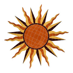 """Glass Tile Oasis - Sun Medallion Pool Accents Brown Pool Glossy Ceramic - Sheet size:  48"""" x 46""""    Tile thickness:  1/4""""   Sheet Mount:  Mesh Backed    Sold by the piece   - We offer six lines of in-stock designs ready for immediate delivery including: The Aquatic Line  The Shadow Line  The Hang 10 Line  The Medallion Line  The Garden Line and The Peanuts® Line.All of the mosaics are frost proof  maintenance free and guaranteed for life.Our Aquatic Line includes: mosaic dolphins  mosaic turtles  mosaic tropical and sport fish  mosaic crabs and lobsters  mosaic mermaids  and other mosaic sea creatures such as starfish  octopus  sandollars  sailfish  marlin and sharks. For added three dimensional realism  the Shadow Line must be seen to be believed. Our Garden Line features mosaic geckos  mosaic hibiscus  mosaic palm tree  mosaic sun  mosaic parrot and many more. Put Snoopy and the gang in your pool or bathroom with the Peanuts® Line. Hang Ten line is a beach and surfing themed line featuring mosaic flip flops  mosaic bikini  mosaic board shorts  mosaic footprints and much more. Select the centerpiece of your new pool from the Medallion Line featuring classic design elements such as greek key and wave elements in elegant medallion mosaic designs."""