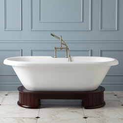 """67"""" Atley Acrylic Tub - Wood Pedestal - A sculpted oval wood plinth is the focal point of the 67"""" Atley Acrylic Tub. Featuring a rolled rim and defined tap deck, this contemporary bathtub will be a favorite addition to your bathroom."""