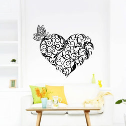 ColorfulHall Co., LTD - Butterfly Wall Decals Heart Shape with Butterfly Full Of Love Feeling - Butterfly Wall Decals Heart Shape with Butterfly Full Of Love Feeling