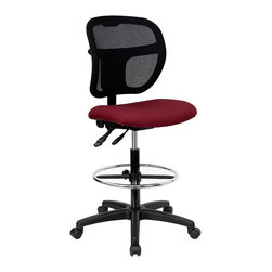Flash Furniture - Ergonomic Drafting Stool w Mesh Fabric Back - Mesh backed ergonomic drafting stool with Burgundy fabric upholstered seat. 3 in. Thick foam padded seat. Breathable mesh fabric back. Height adjustable ratchet back. Ergonomically contoured back. Pneumatic seat height adjustment. Locking back posture adjustment. Chrome Finished Steel Foot Ring. Heavy duty nylon base. Dual wheel casters. Seat: 20 in. W x 18 in. D. Back: 18 3/4 in. W x 17 1/4 in. - 19 3/4 in. H. Seat Height: 24 1/4 in. - 29 1/4 in. H. Overall: 25 1/4 in. W x 24 1/2 in. D x 40 in. - 47 1/2 in. H