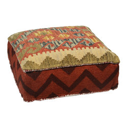 Habitat Home & Garden - Eshani Pouf - The Eshani Pouf is a beautiful piece to add extra seating to your home, or to use as a foot rest. Upholstered in a quality wool and cotton fabric, this colorful piece will add flair to your decor.