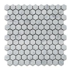 "Tiles R Us - Carrara Marble Honed Hexagon Mosaic Tile - - Italian Carrara White Marble 1"" Hexagonal Honed (Matte Finish) Mosaic Tile."