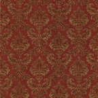 Mirage - Louis Red Damask Wallpaper - Give your walls the royal treatment with this regal red and gold damask pattern. This prepasted wallpaper is both opulent and practical: A roll gives you 56.38 square feet of scrubbable, easy to remove solid sheet vinyl.