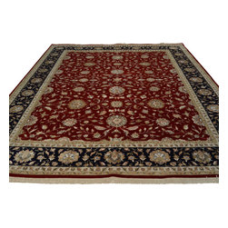 9'x12' All Over Design Kashan Hand Knotted Oriental Rug Wool and Silk Sh18615 - The first way one normally finds silk in a rug is as a ���highlight� or ���silk touch�. This will be seen in very high knot count traditional rugs typically. The silk is used in very small amounts throughout the design to highlight, add an extra dimension, and/or pop to the design. The second way silk is incorporated into a wool rug sometimes is when an entire element of a rug or color is done in silk. This is seen in both modern as well as traditional rugs. A design element, for instance a flower or bird, could be entirely carved out in silk within the rug. This design sometimes will also be depressed or raised (have a higher and lower pile) besides being done in silk so it will stand out even more within the rug.