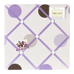Sweet Jojo Designs - Purple Mod Dots Fabric Memo Board - The Purple Mod Dots Fabric Memo Board with button detail is a great way to display photos, notes, and postcards on your child's wall. Just slip your mementos behind the grosgrain ribbon to create an engaging piece of original wall art. This adorable memo board by Sweet Jojo Designs is the perfect accessory for the matching children's bedding set.