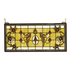 Meyda - 22 Inch W 10 Inch H Lancaster Window Windows - Color Theme: Avocado Ia Green/Blue Burgundy Zasdy
